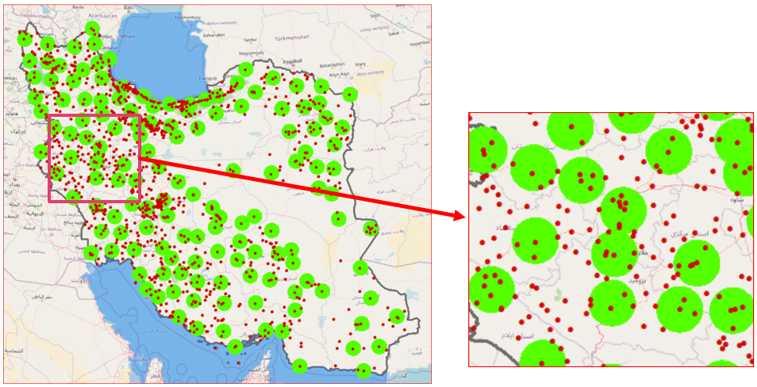شکل 6: عدم پوشش بسیاری از شهرها و روستاهای کشور توسط سامانه شمیم. دایره سبز رنگ: محدوده شعاع 35 کیلومتری از ایستگاههای سامانه شمیم. نقاط قرمز رنگ: مناطق شهری و روستایی کشور